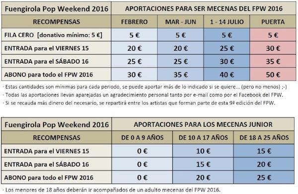 Tabla de Precios Fuengirola Pop Weekend 2016