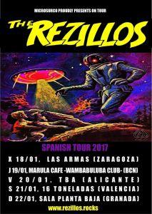 Conicertos de The Rezillos en Zaragoza, Barcelona, Castellón, Valencia y Granada en 2017