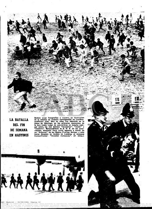 Página gráfica con los disturbios en Hastings, Inglaterra, publicada 05/08/1964