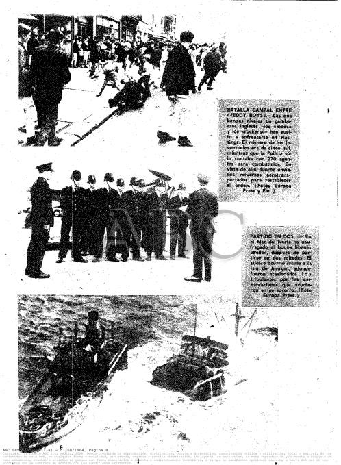 Página gráfica de ABC Sevilla con los disturbios en Hastings, publicada 07/08/1964