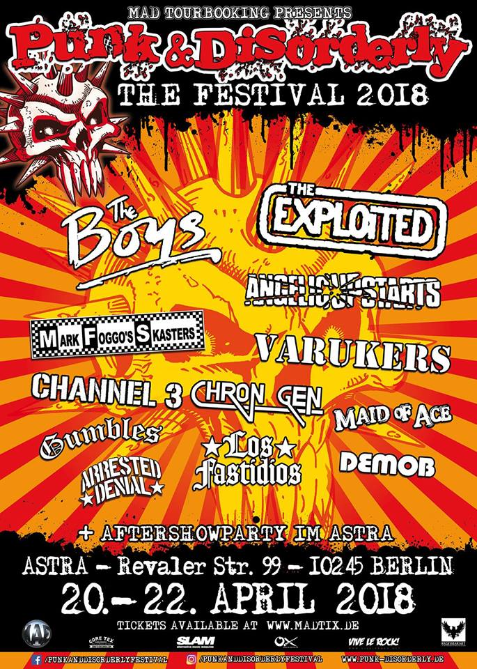 Punk & Disorderly 2018 line-up: The Exploited, The Boys, Angelic Upstarts, Channel 3, Varukers, Chron Gen, Gumbles, Arrested Denial, Los Fastidios y Demob