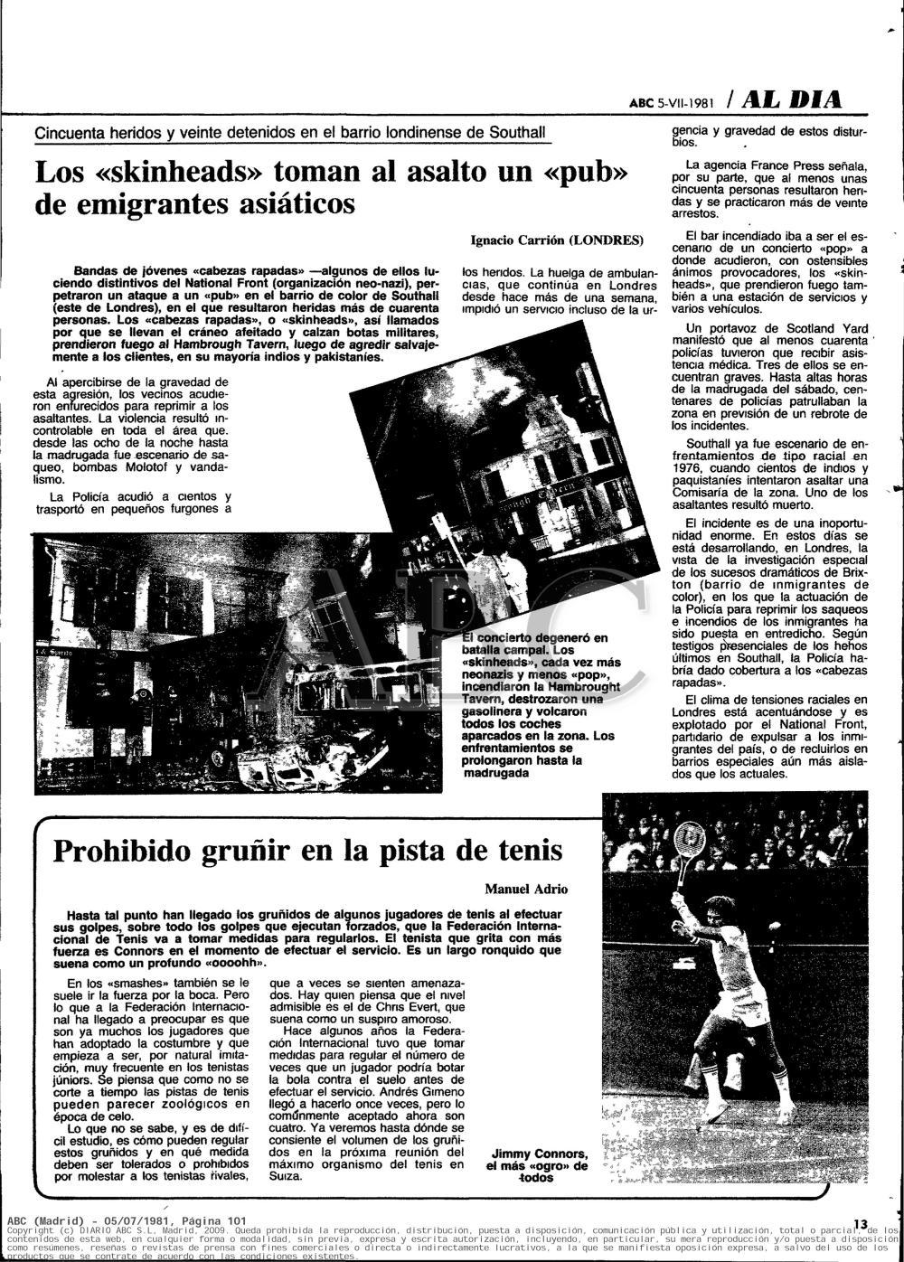 Información sobre los sucesos de Southall en 1981 publicada por ABC el 5 de julio de 1981