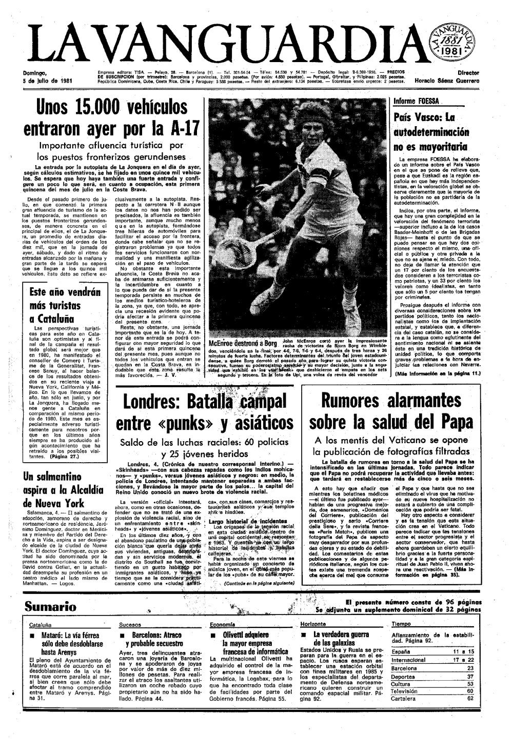 Portada de La Vanguardia del domingo, 5 de julio de 1981, con los sucesos en Southall