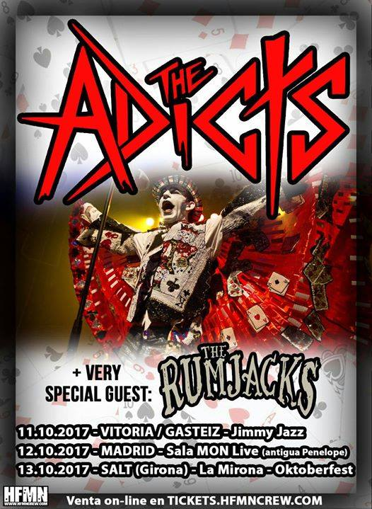 Conciertos de The Adicts en Vitoria, Madrid y Girona