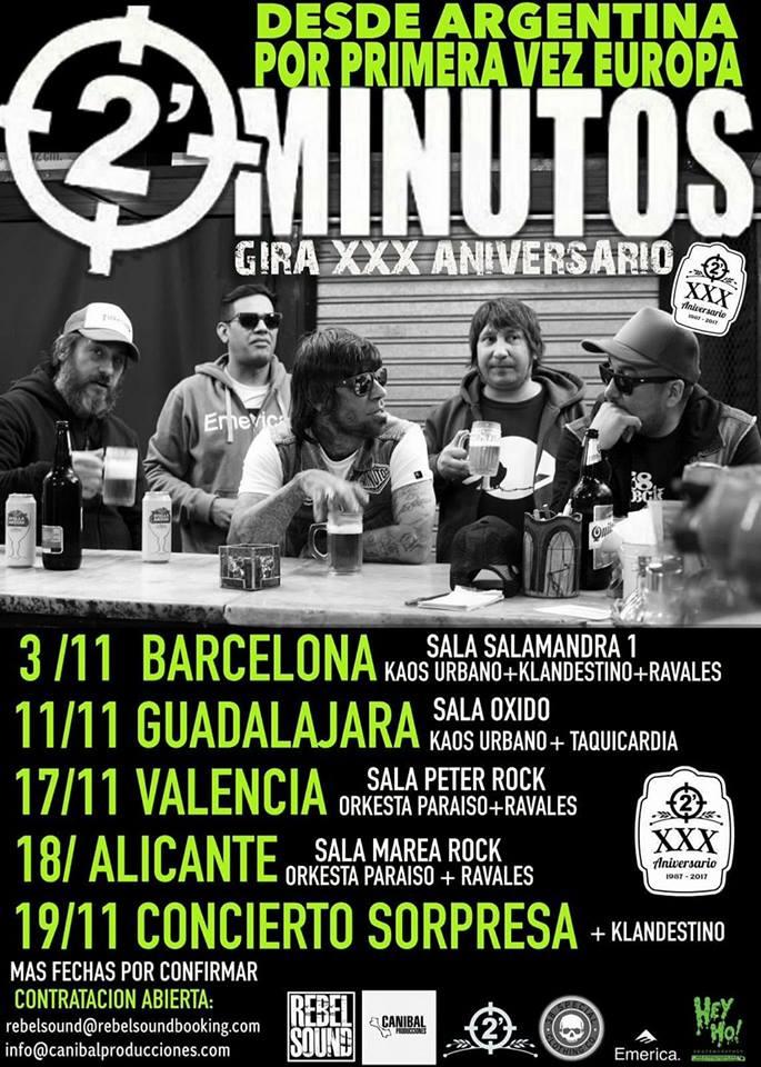 2 Minutos Gira por España en 2017 con conciertos en Barcelona, Guadalajara, Valencia y Alicante