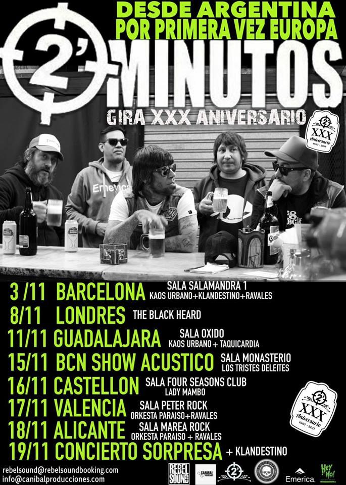 2 Minutos Gira por España en 2017 con conciertos en Barcelona, Guadalajara, Castellón, Valencia y Alicante
