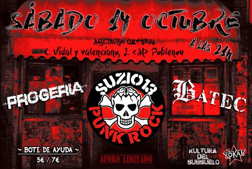 Cartel concierto Suzio 13 de Barcelona