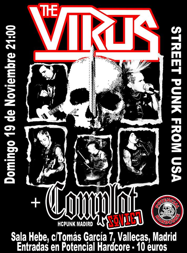 Concierto de The Virus + Complot Soviet en Sala Hebe, Madrid, el domingo, 19 de noviembre de 2017