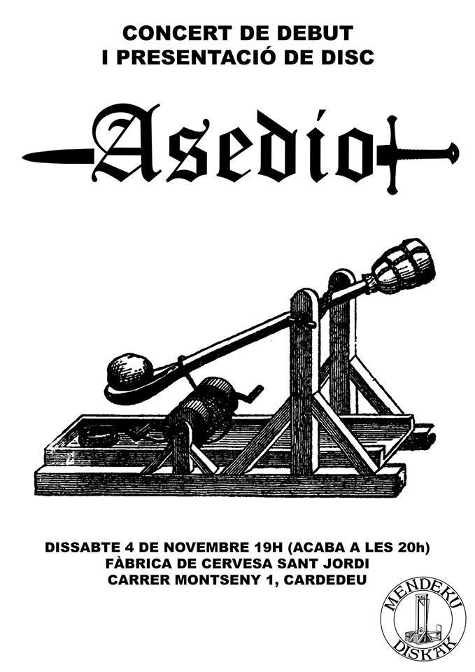 Concierto de debut de Asedio en la Fábrica de Cervesa Sant Jordi, en Cardedeu, Barcelona