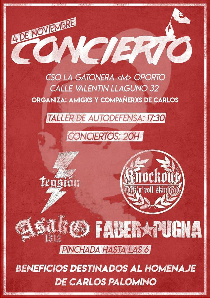 Concierto Tensión, Knockout, Asako 1312 y Faber Pugna en CSO La Gatonera, Madrid, el 4 de noviembre de 2017