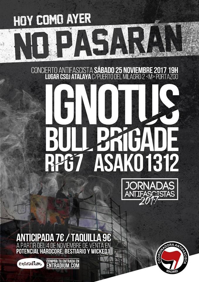 Concierto Bull Brigade, Ignotus, RPG7 y Asako 1312 en CSOJ Atalaya, Madrid