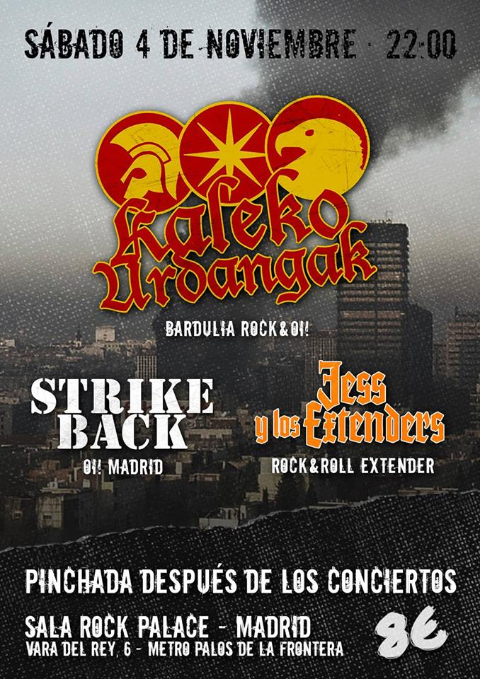 Concierto de Kaleko Urdangak, Strike Back y Jess Y Los Extenders en Rock Palace, Madrid, el 4 de noviembre de 2017