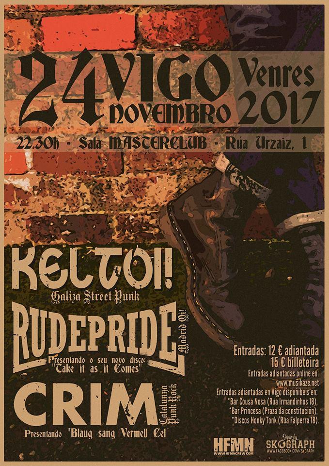 Concierto Keltoi!, Rude Pride y CRIM en sala MasterClub de Vigo, 24 de noviembre de 2017