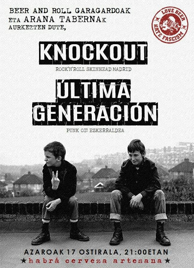 Concierto Knockout y Última Generación en Arana Taberna de Portugalete el 17 de noviembre de 2017