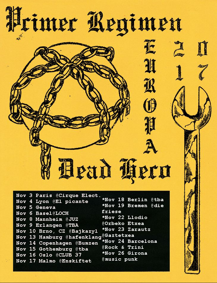 Conciertos de Primer Régimen y Dead Heroe en Barcelona, Girona, Llaudio y Zarautz