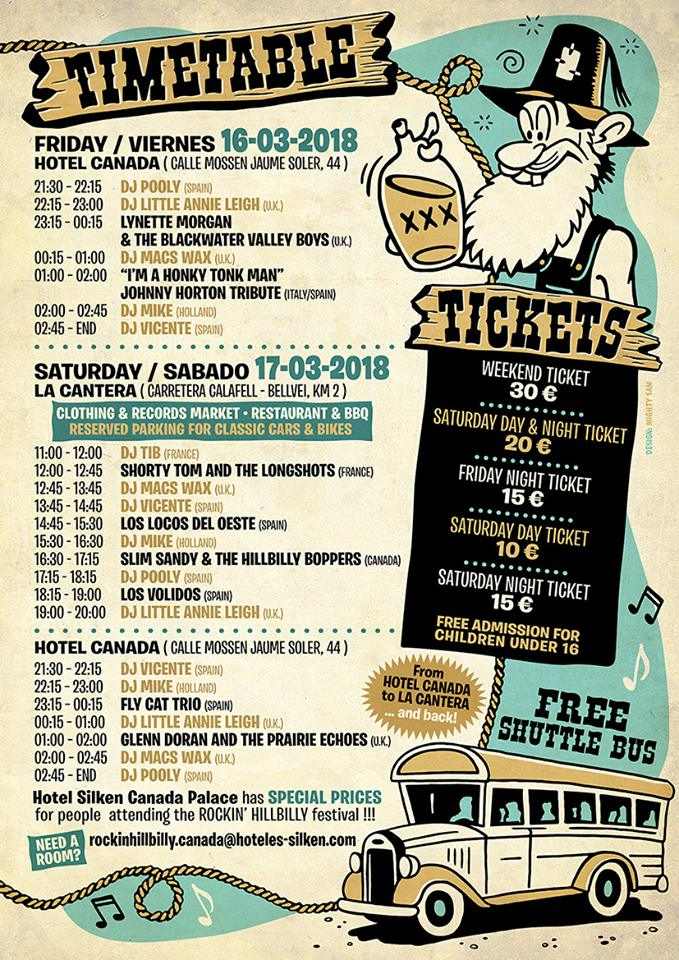 Horarios Rockin' Hillbilly 2018 / Rockin' Hillbilly 2018 Timetable