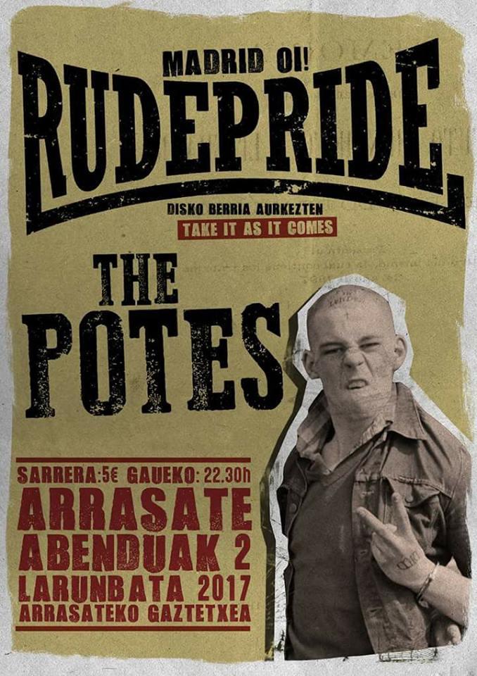 Cartel del concierto de Rude Pride + The Potes @ Arrasateteko Gaztetxea, Arrasate/Mondragón, 01/1272017