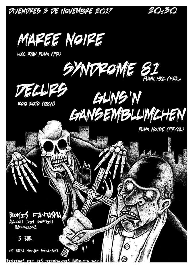 Concierto de Syndrome 81 / Marée Noire / Guns'n'Gänseblümchen / Decurs en Barcelona