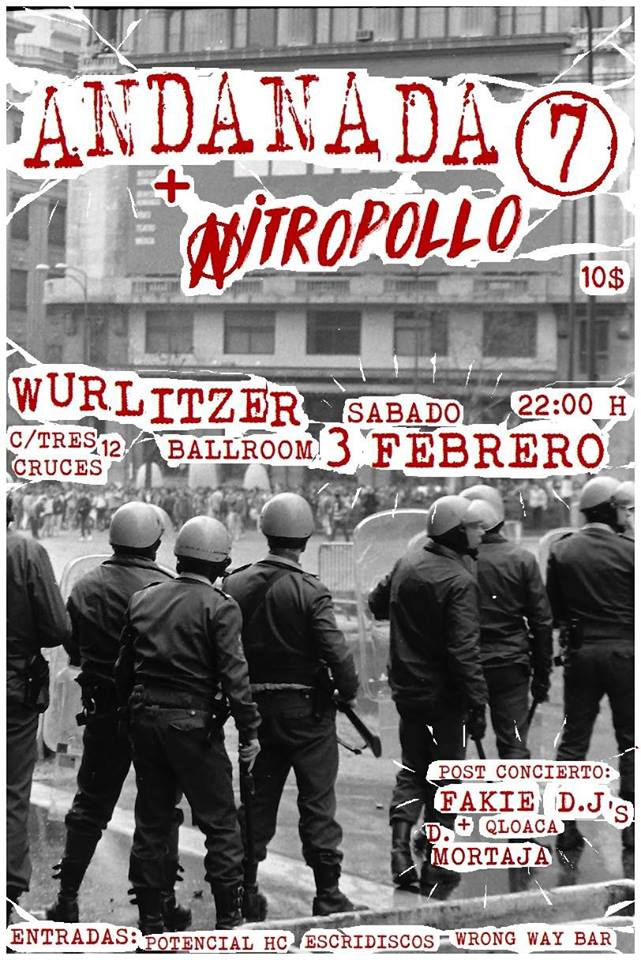 Concierto de Andanada 7 + Nitropollo en Wurtlitzer Ballboom, Madrid, el sábado, 3 de febrero de 2018