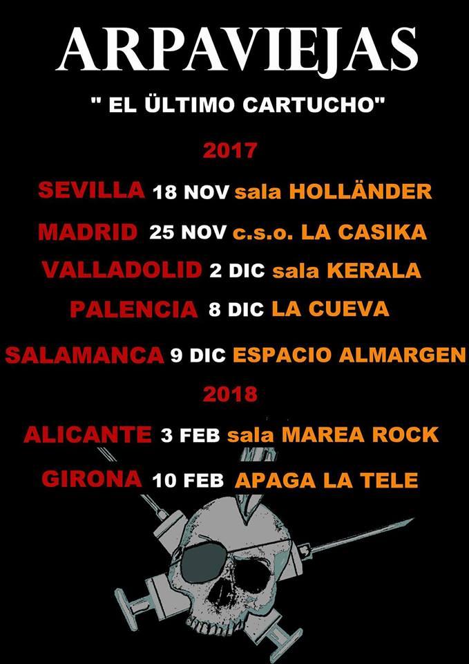 Conciertos de Arpaviejas en Sevilla, Móstoles, Valladolid, Salamanca, Palencia, Alicante y Girona