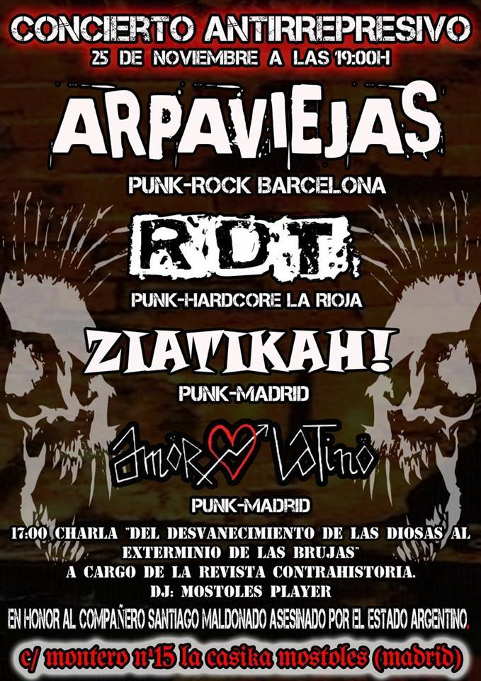 Concierto de Arpaviejas, RDT, Ziatikah! y Amor Latino en CSO La Casika, Móstoles, el 25 de noviembre