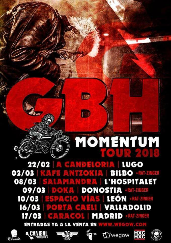 Gira de GBH en 2018 con conciertos en A Candeloria, Bilbao, Donostia, León, Valladolid, Madrid y L'Hospitalet