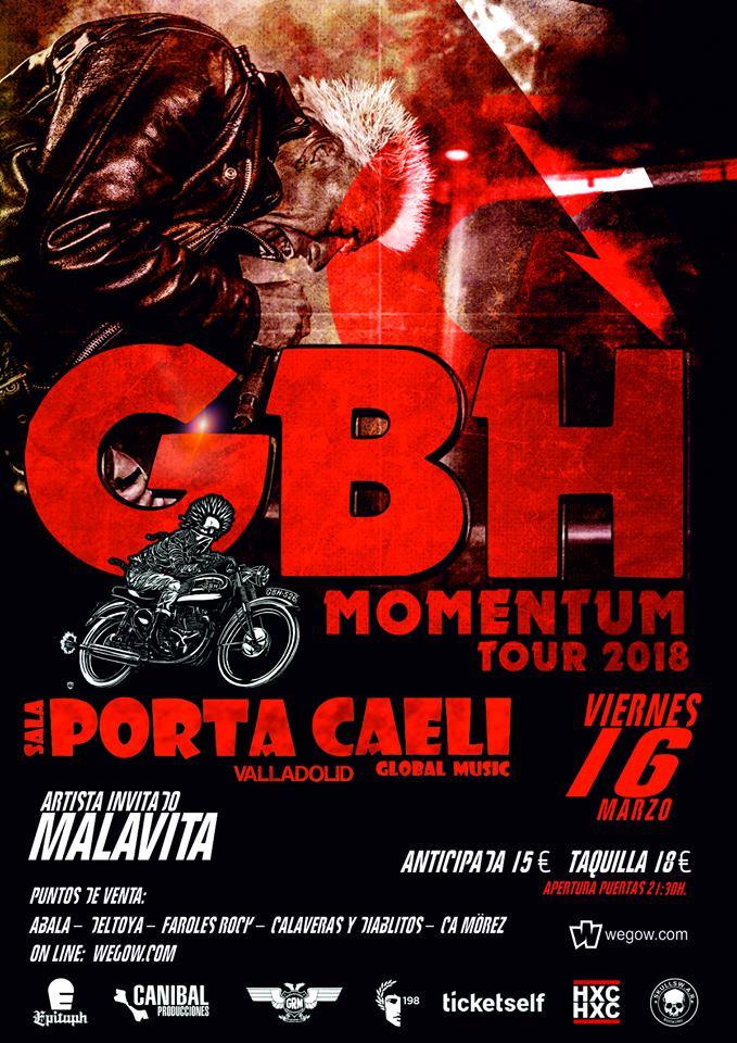Concierto de GBH + Malavita @ Sala Porta Caeli, Valladolid, viernes, 16 de marzo de 2018