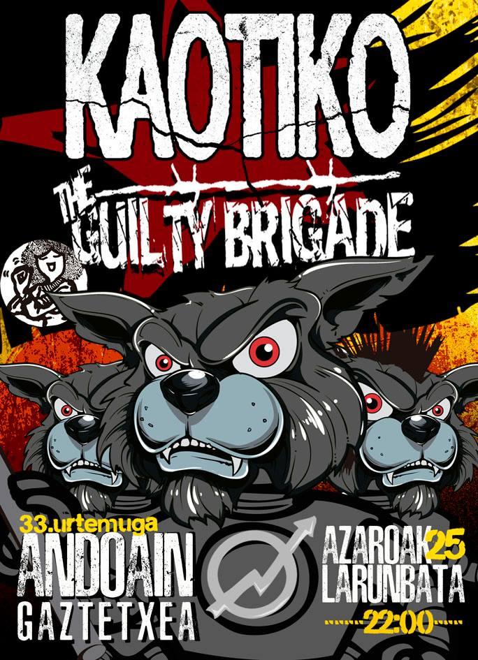 Concierto Kaotiko + The Guilty Brigade en Andoaingo Gaztetxean el sábado, 25 de noviembre de 2017