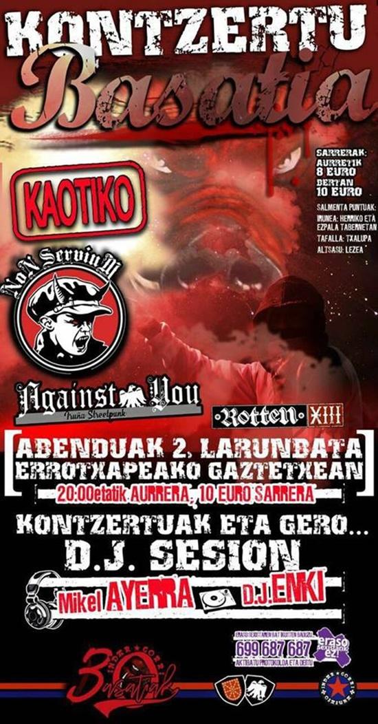 Concierto de + Kaotiko y Against You en Pamplona/Iruñea el 2 de diciembre de 2017