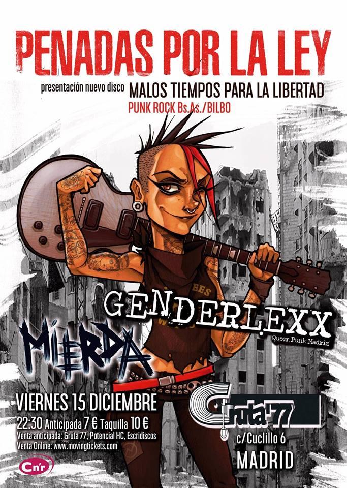 Concierto Penadas por la Ley + Genderlexx + Mierda @ Gruta 77, Madrid, 15/12/2017
