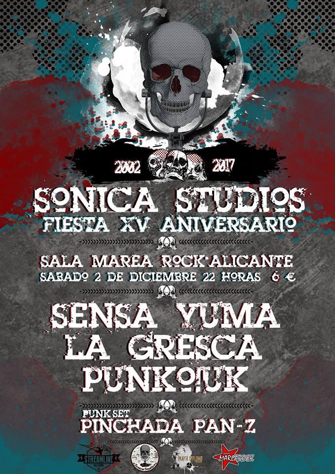 Concierto 15º aniversario Sónica Studios con Sensa Yuma, La Gresca y Punko!UK en la Sala Marearock de Alicante