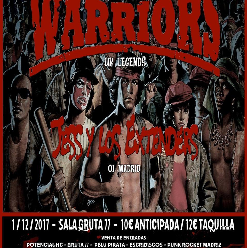 The Warriors + Jess y los Extenders en Gruta 77, Madrid, el viernes 1 de diciembre de 2017