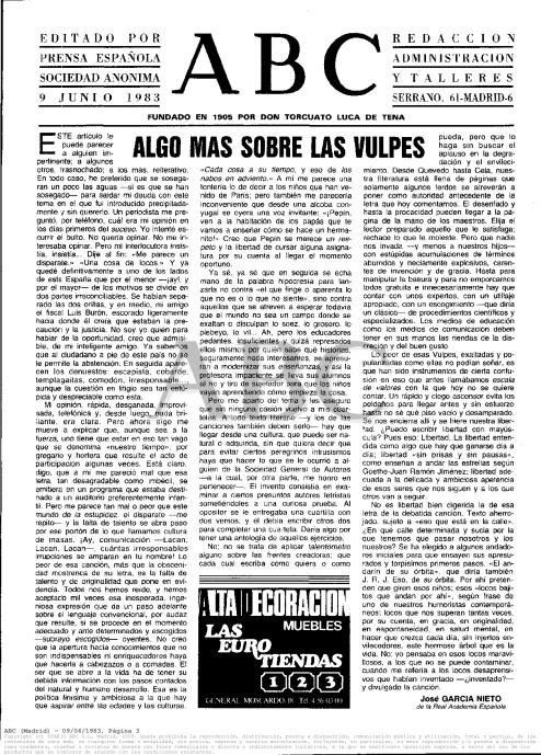 Artículo de opinión del director de la Real Academia de la Lengua, publicado en ABC en junio de 1983