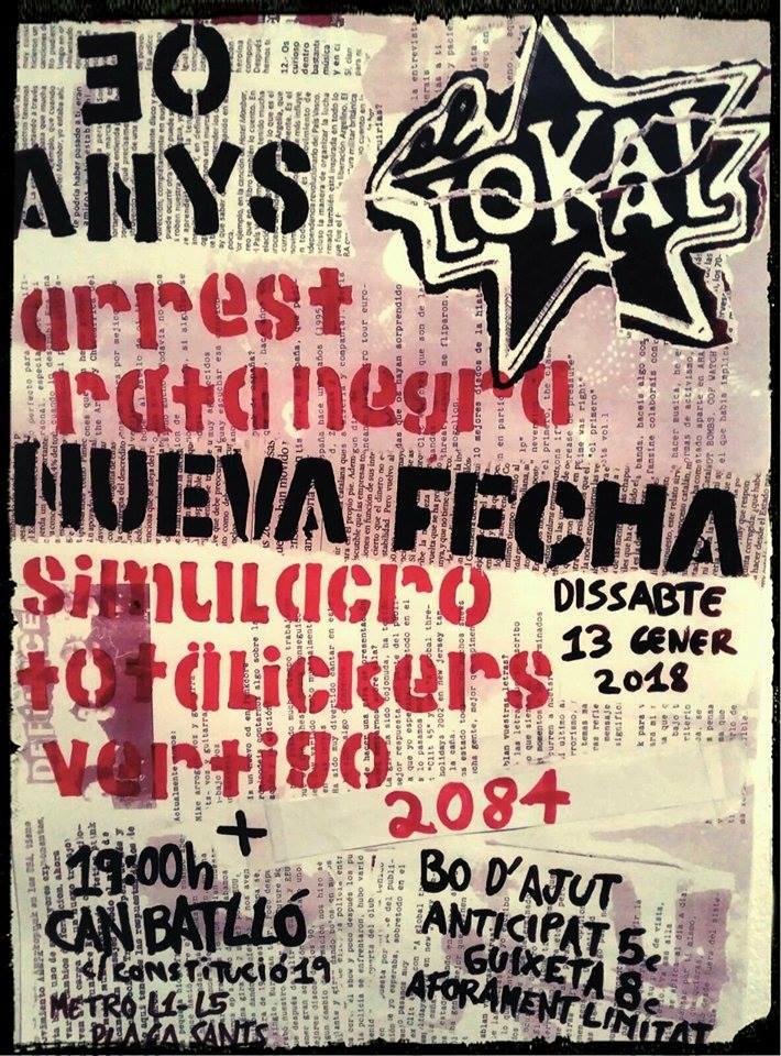 Concierto punk 30º Aniversario de El Lokal de Barcelona con Rata Negra, Simulacro, Arrest, Vértigo, Totälickers, y 2084