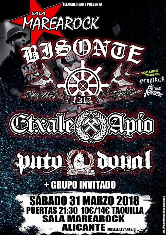 Concierto de Bisonte 1312 + Etxale Apio + Puto Donald @ Sala Marearock, Alicante, 31/03/2018