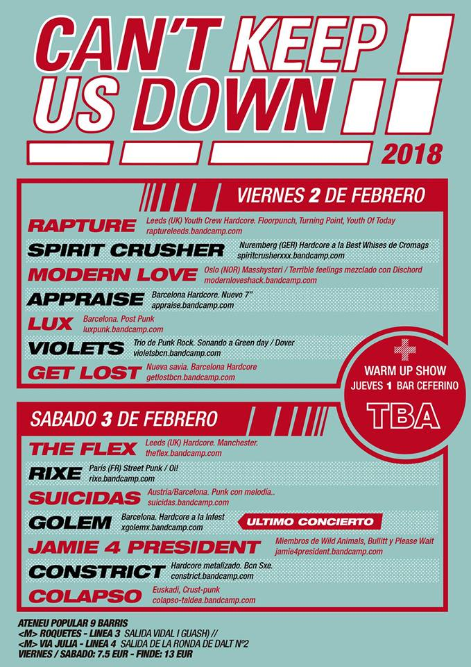 Festival Can't Keep Us Down 2018 en Barcelona (1 al 3 de febrero)