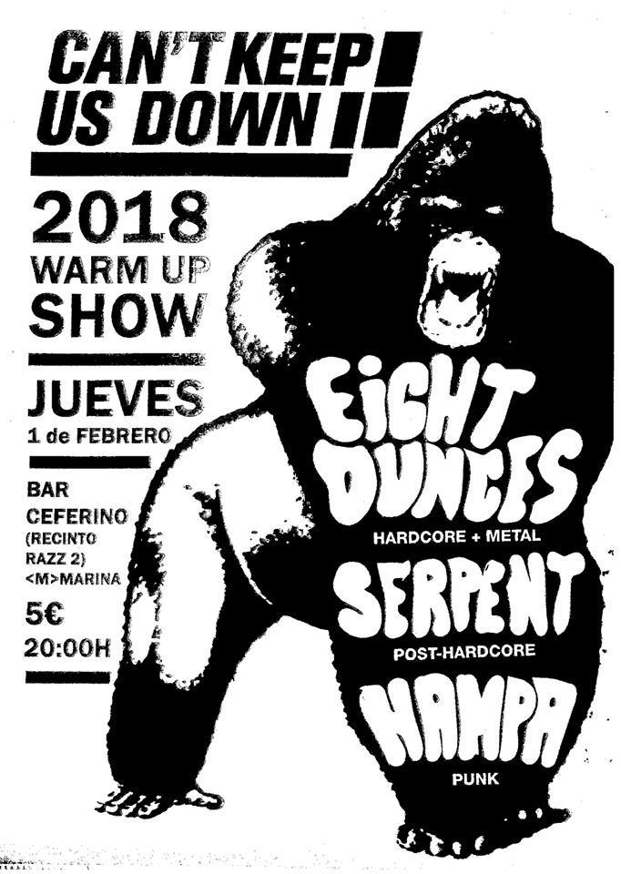 Can't Keep Us Down 2018 warmp up show w/ 8 Ounces, Sepernt y Hampa @ Bar Ceferino, Barcelona, 01/0272018