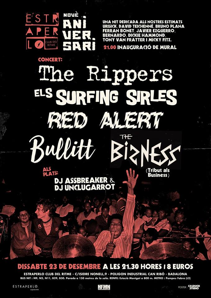 9º Aniversario de Estraperlo Club con The Rippers, Els Surfing Sirles, Red Alert, Bullit y The Bizness el 23/12/2017 en Estraperlo Club de Badalona