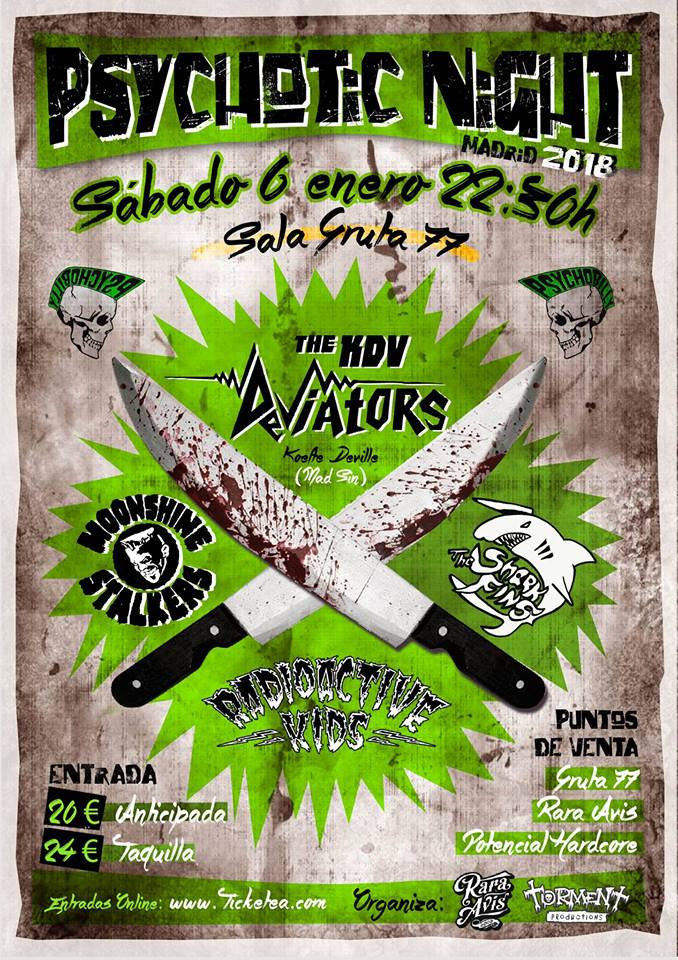 Psychotic Night 2018 @ Gruta 77, The KDV Deviators, Radioactive Kids, The Moonshine Stalkers y The Shark Fins