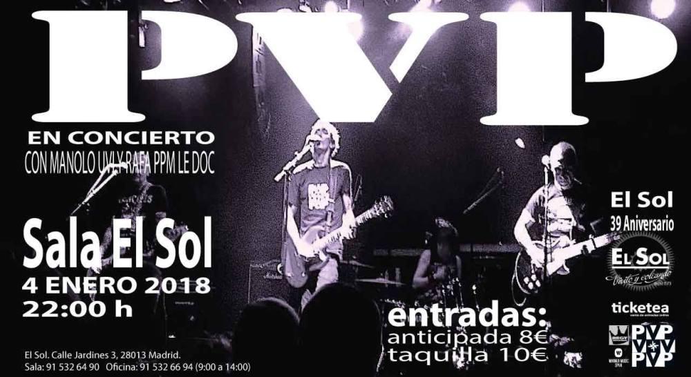 Concierto de PVP en la sala El Sol, Madrid, el 4 de enero de 2018