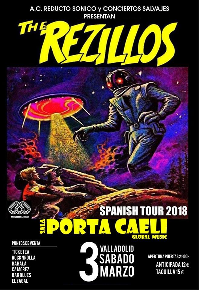 Cartel del concierto de The Rezillos @ Sala Porta Caeli, Valladolid, el 3 de marzo de 2018