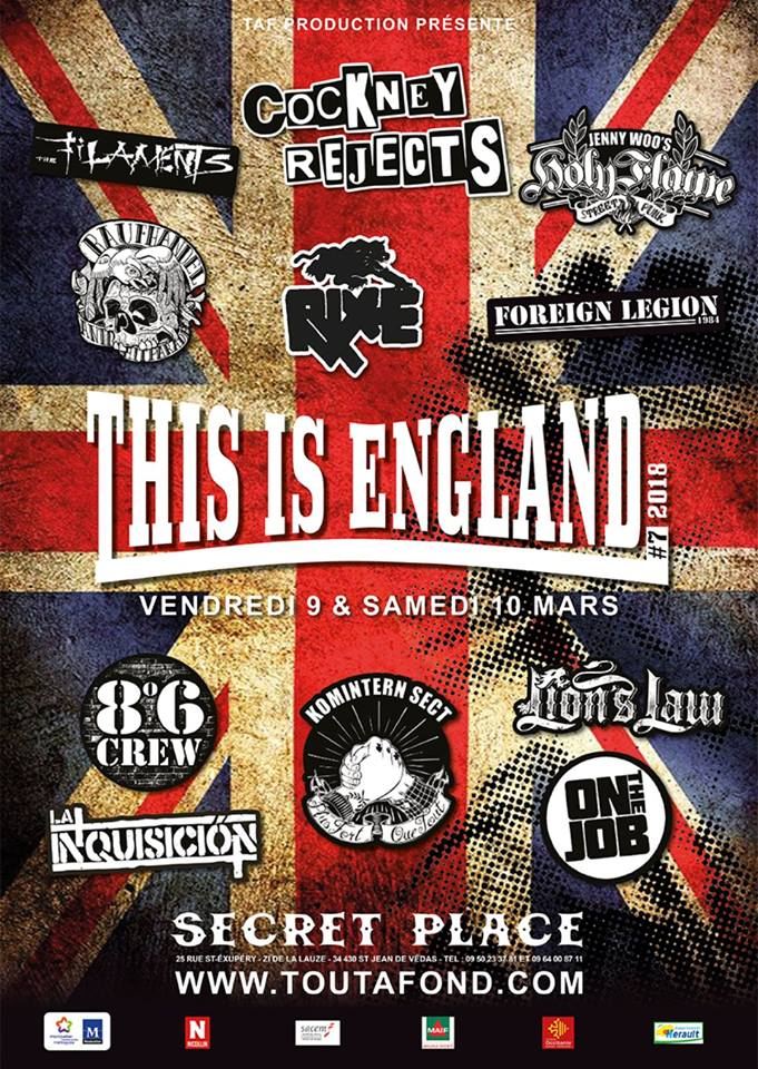 This Is England 2018 Festival: Cockney Rejects, The Filaments, Holy Flame, On The Job, Rixe, Komintern Sect, Lion's Law, 8º 6 Crew, Raufhandel, La Inquisición & Foreign Legion