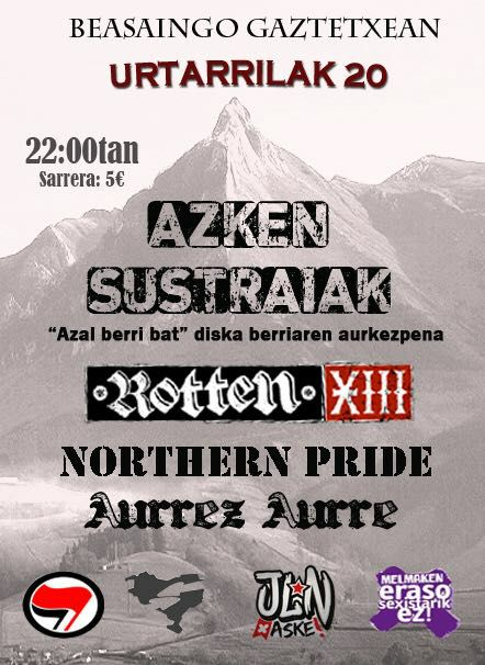 Cartel del concierto de Azken Sustraiak + Rotten XIII + Northern Pride + Aurrez Aurre @ Beasaingo Gaztetxea - Melmak 20/01/2018