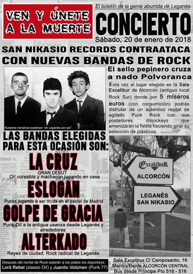 Concierto La Cruz, Alterkado, Eslogan y Golpe de Gracia @ Rock Sur, Alcorcón, 20/01/2018