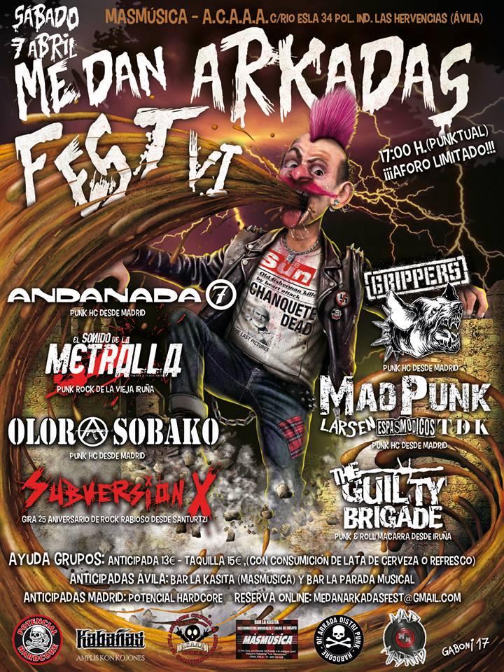 Me Dan Arkadas Fest 2018 con Andanada 7, Olor A Sobako, Grippers, MadPunk, El Sonido de la Metralla, Subversión X y The Guilty Brigade