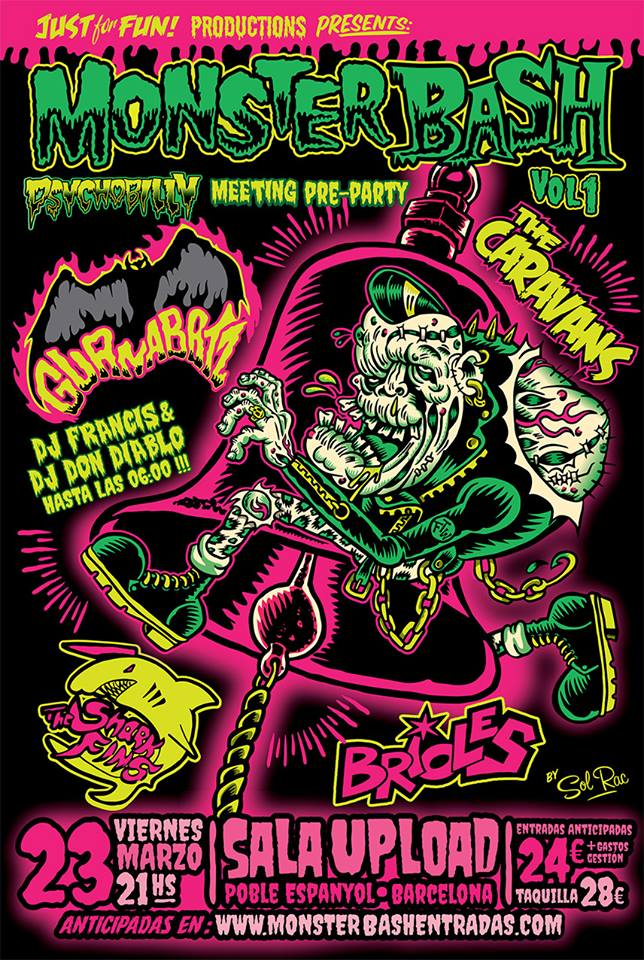 Monster Bash Vol.1 con los conciertos de Guana Batz, The Caravans, Brioles y The Shark Fins @ Sala Upload, Barcelona, viernes 23 de marzo de 2018
