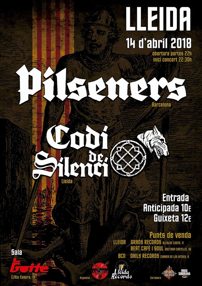 Cartel concierto de Pilseners + Codi de Silenci @ Sala La Boite, Lleida, 14/04/2018