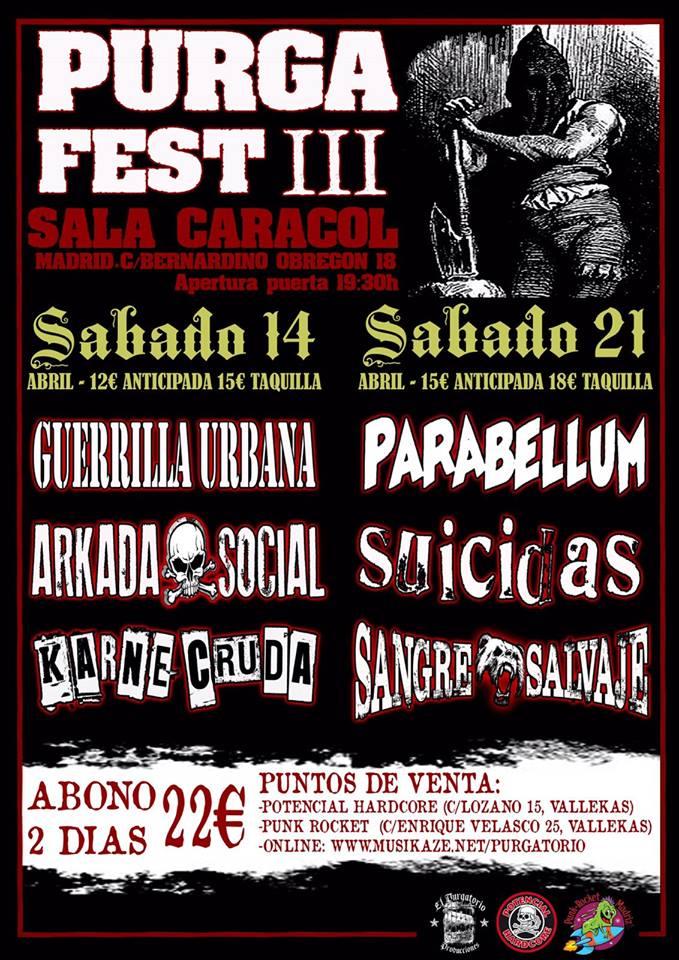 Cartel Purga Fest 2018: Guerrilla Urbana, Parabellum, Arkada Social, Suicidas, Karne Kruda y Sangre Salvaje @ Sala Carcol, Madrid, 14 y 21 de abril de 2018