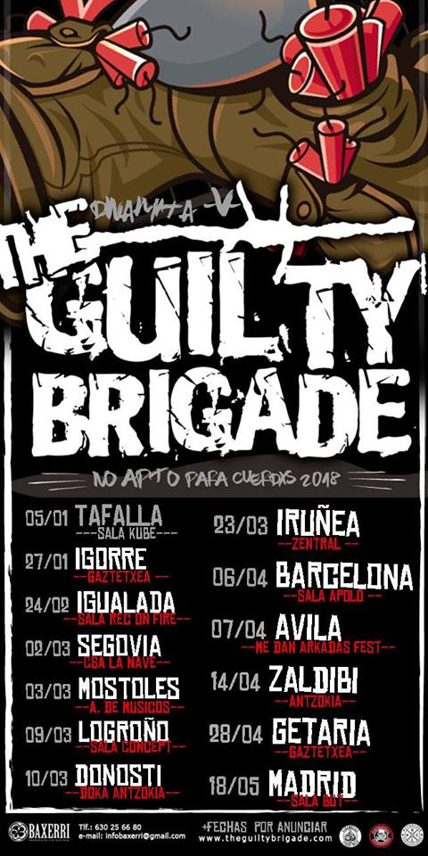 Cartel de la gira No Apto para Cuerdos 2018 de The Guilty Brigade