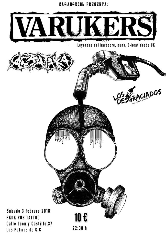 Cartel del concierto de The Varukers @ PKDK Pub Tattoo, Tenerife, sábado 3 de febrero de 2018
